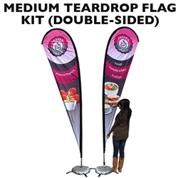MEDIUM CUSTOM PRINTING TEARDROP FLYING BANNER FLAG KIT (Double-Sided)