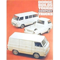 12 page color catalog for 1964 Dodge A-100 compact vans, compact pickups and Sportsman wagons