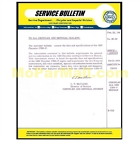 Service bulletin providing supplemental informatio