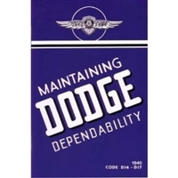 New Chrysler Corp. authorized reprint of the original factory owner/operator's manual for all 1940 Dodge D14 and D17