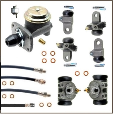 12-piece premium-quality set includes the master cylinder, all (6) wheel cylinders, all (4) rubber brake hoses and a hydraulic stop light switch