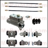 11-piece brake hydraulic package includes a complete master cylinder assembly; (2) front wheel cylinder assemblies; (4) rear wheel cylinder assemblies; (3) flexible hoses and a hydraulic stop light switch