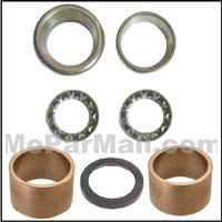 7-piece steering box repair package consists of (2) ball bearings, (2) ball bearing races; (2) bronze bushings and (1) output shaft seal