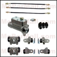 11-piece set includes a complete master cylinder assembly; (2) front wheel cylinder assemblies; (4) rear wheel cylinder assemblies; (3) flexible hoses and a hydraulic stop light switch