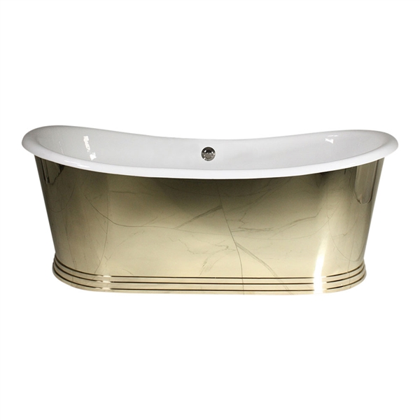 "<br>'The Holyrood73' 73"" Cast Iron French Bateau Tub with Mirror Polished Solid Brass Exterior plus Drain<BR>"