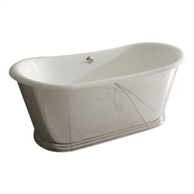 "<br>'The Lindisfarne NEW59' 59"" Cast Iron French Bateau Tub with Mirror Polished Stainless Steel Exterior with Penhaglion Step Base plus Drain<BR>"