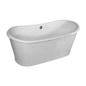 "<br>'The Bromfield73' 73"" Cast Iron Metal Skirted French Bateau with Tub and Drain<br>"