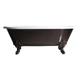 "<br>'The Cardigan73' 73"" Cast Iron Double Ended Clawfoot Tub Package with OIL RUBBED BRONZE Exterior and Eggshell Chocolate Brown Feet plus Drain<BR>"