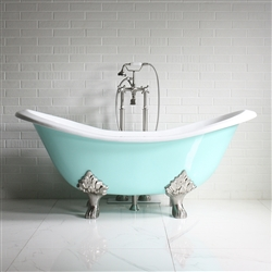 "<br>'The Dunstable' 73"" Cast Iron Double Slipper Clawfoot Tub with AQUEDUCT BLUE Exterior plus Drain<BR>"