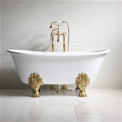 "'The Fountains' 59"" Cast Iron French Bateau Clawfoot Tub with Fixtures"