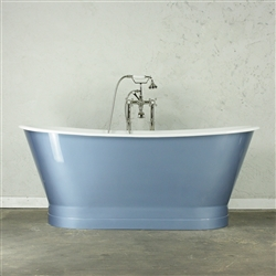 "<br>'The Grovebury' 68"" Cast Iron French Bateau Tub with HIGH GLOSS ALUMINUM BLUE Exterior plus Drain<BR>"