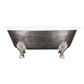"<br>'The Huntingdon' 65"" Cast Iron Double Ended Oval Clawfoot<BR>Tub with a Hand Burnished Natural Iron Exterior plus Drain<BR>"