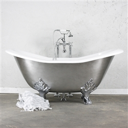 "<br>'The Kirkstead' 61"" Cast Iron Double Slipper Clawfoot Tub with an AGED CHROME Exterior plus Drain<BR>"