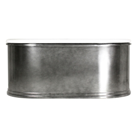 "<br>'The Knightsbridge73' 73"" Cast Iron Double Ended Metal Exterior Trim Shell Tub and Drain<BR>"