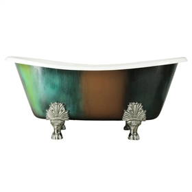 "'The LanercostTH68'  68"" Cast Iron French Bateau Clawfoot Bathtub with Copper Patinated Exterior plus Accessories"