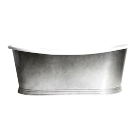 "<br>'The New Whitby73' 73"" Cast Iron French Bateau Tub with Aged Chrome Finish Metal Exterior and Penhaglion Step Base plus Drain<br>"