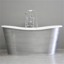 "<br>'The Pershore59' 59"" Cast Iron French Bateau Tub with BRUSHED ALUMINUM Exterior plus Drain<br>"