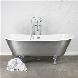 "<br>'The Pilton' 68"" Cast Iron French Bateau Clawfoot Tub with an AGED CHROME Exterior plus Drain<BR>"
