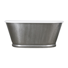 "<br>'The Royston61' 61"" Cast Iron Double Ended Tub with BURNISHED-80 Non-Reflective Angled Stainless Steel Exterior with Base Trim plus Drain<br>"