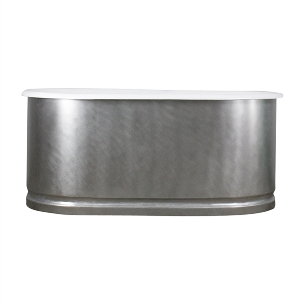 "<br>'The Sherborne61' 61"" Cast Iron Double Ended Tub with BURNISHED-80 Non-Reflective Stainless Steel Exterior and Base Trim plus Drain<br>"