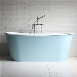 "<br>'The Skye' 68"" Cast Iron French Bateau Tub with GLOSS AQUATINT BLUE Exterior with Drain<br>"
