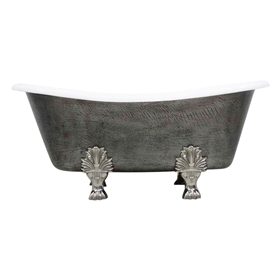 "<br>'The Thornton' 68"" Cast Iron French Bateau Clawfoot Tub<BR>with a HAND BURNISHED Natural Iron Exterior plus Drain<BR>"