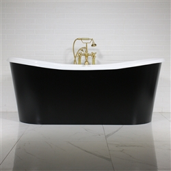 "<br>'The Whitland73' 73"" Cast Iron French Bateau Tub with Eggshell Onyx Black Finish Aluminum Exterior Shell and Drain<BR>"