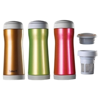 Travel mug with vacuum insulation and removable infuser that stays hot for hours