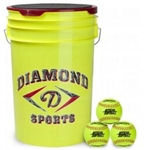 diamond 6-gallon ball bucket with 18 12yos fastpitch softballs