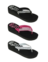Women's Sequin Flip Flops Comfort Thong Sandals with Wedge