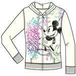 Adult Junior Ornate Mickey Mouse Zip Up Hoodie, Off White