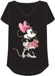 Plus Size Vintage V-Neck Top Fresh Minnie, Black