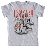 Youth Boys T-Shirt Avengers Assembled Captain America, Thor, Hulk, Gray (Namedrop Required)