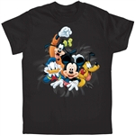 Youth T-Shirt Fab 4 Bursting Donald Pluto Goofy Mickey, Black