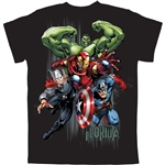Youth Boys T-Shirt Fab Avengers Captain America, Iron Man, Thor, Hulk, Black (Florida Namedrop)