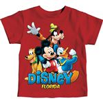 Toddler Boys T-Shirt Mickey and Friends Goofy Donald Pluto, Classic Red (Florida Namedrop)