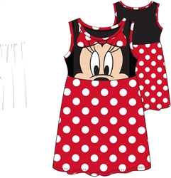 Toddler Minnie Face Dress, Red Polka Dot