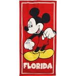 Classic Mickey Red Beach Towel (Florida Namedrop)