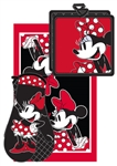 Minnie Dotty 3pc Kitchen Towel Set, Red & Black