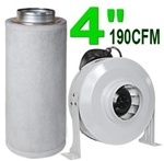 "4"" Charcoal Filter Ventilation System 190 CFM Duct Fan"