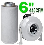 "6"" Charcoal Filter Ventilation System 440 CFM Duct Fan"