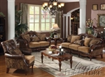 Chenille & Bycast PU Sofa Set
