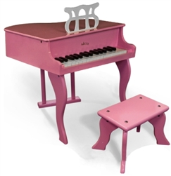 Brand New Childs Pink Solid Wood Grand Piano With Bench