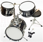 Brand New Complete 3 PC Kids Beginner Drum Set - Black