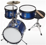Brand New Complete 3 PC Kids Beginner Drum Set - Blue