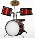 Brand New Complete 3 PC Kids Beginner Drum Set - Red
