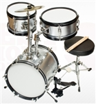 Brand New Complete 3 PC Kids Beginner Drum Set - Silver