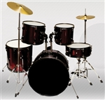 Brand New Complete 5 PC Adult Drum Set - Red