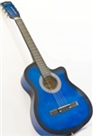 Blue Acoustic Guitar Cutaway Design With Guitar Case, Strap, Tuner and Pick