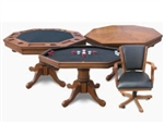 DARK OAK 3-IN-1 POKER TABLE WITH 4 CHAIRS